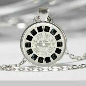 Viewfinder Reel Silver and Glass Necklace